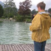 Австрия-2009. Unterach am Attersee. Подманиваем лебедя