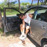 В Греции положено менять обувь выходя из машины :)